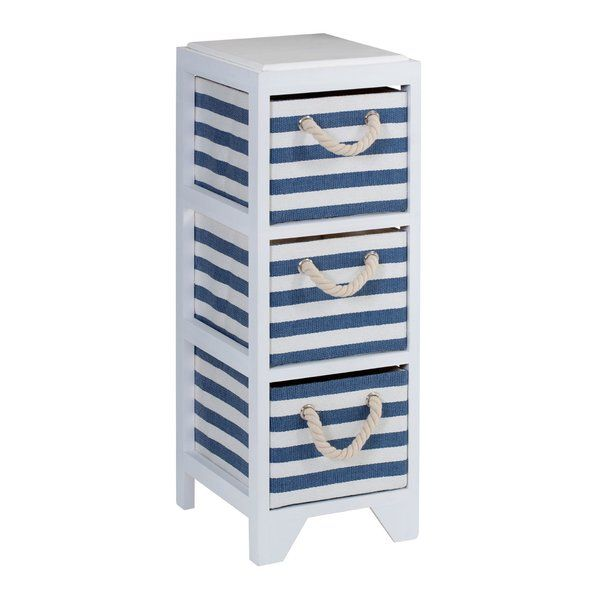 Adding a fresh and practical storage solution to your home, the Sanibel 3 Drawer Chest of Drawers, featuring blue and white strip drawers, will make a charming addition to your bedroom or bathroom. The sturdy white frame is made from paulownia wood, known for its lightweight and strong properties, while the drawers are made from durable paper cloth and feature rope handles, further enhancing its nautical style. The three equal sized drawers give you ample space for storing clothing, linen…