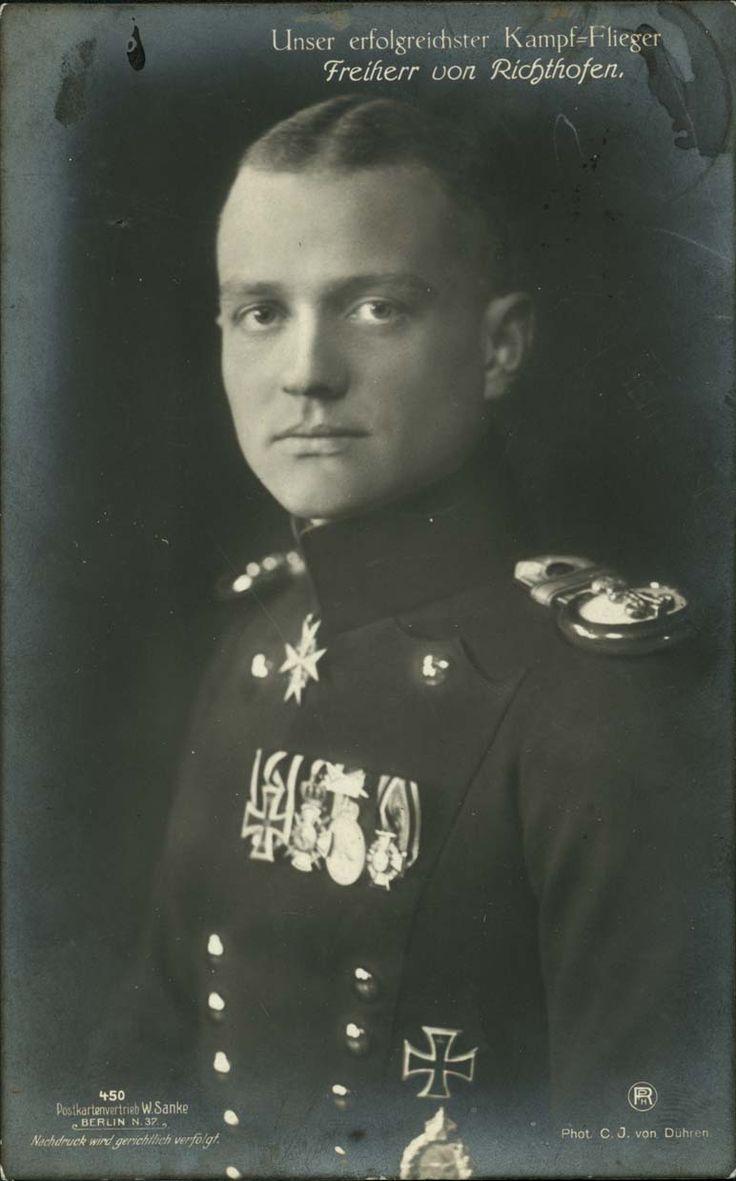 """aviation postcards depicting pilots between 1910 and 1920. The caption on this one reads, """"Unser erfolgreichster Kampf-Flieger: Freiherr von Richthofen"""" - """"Our most successful fighter pilot: Baron von Richthofen."""""""