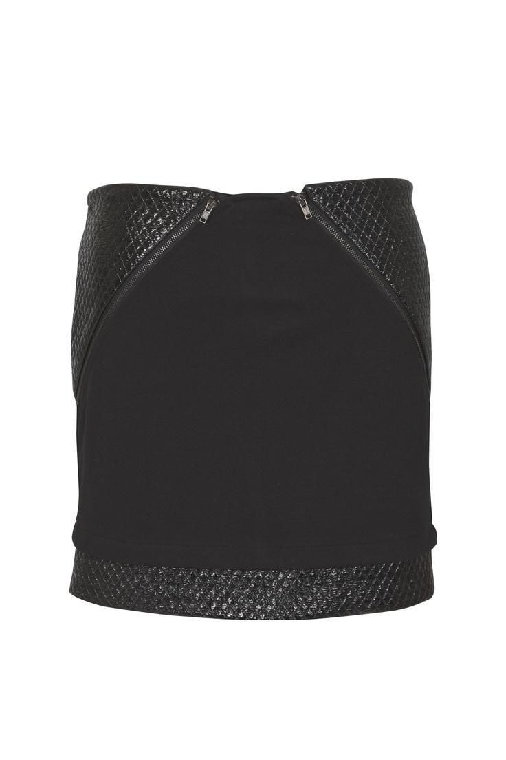 Leather mini with asymmetrical zip