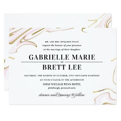 Marble Agate Wedding Invitation   Pink and Gold - gold wedding gifts customize marriage diy unique golden