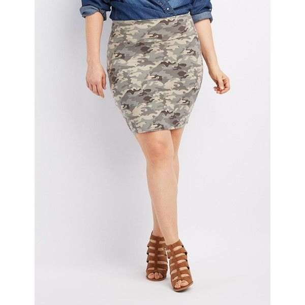 Charlotte Russe Camo Bodycon Mini Skirt ($9.79) ❤ liked on Polyvore featuring plus size women's fashion, plus size clothing, plus size skirts, plus size mini skirts, olive combo, short skirts, plus size bodycon skirt and short mini skirts
