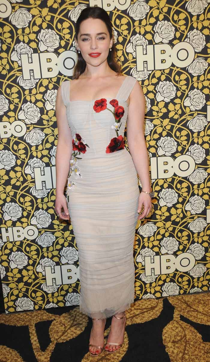 Emilia Clarke at the HBO Post 2016 Golden Globe Awards Party in Los Angeles on January 11, 2016