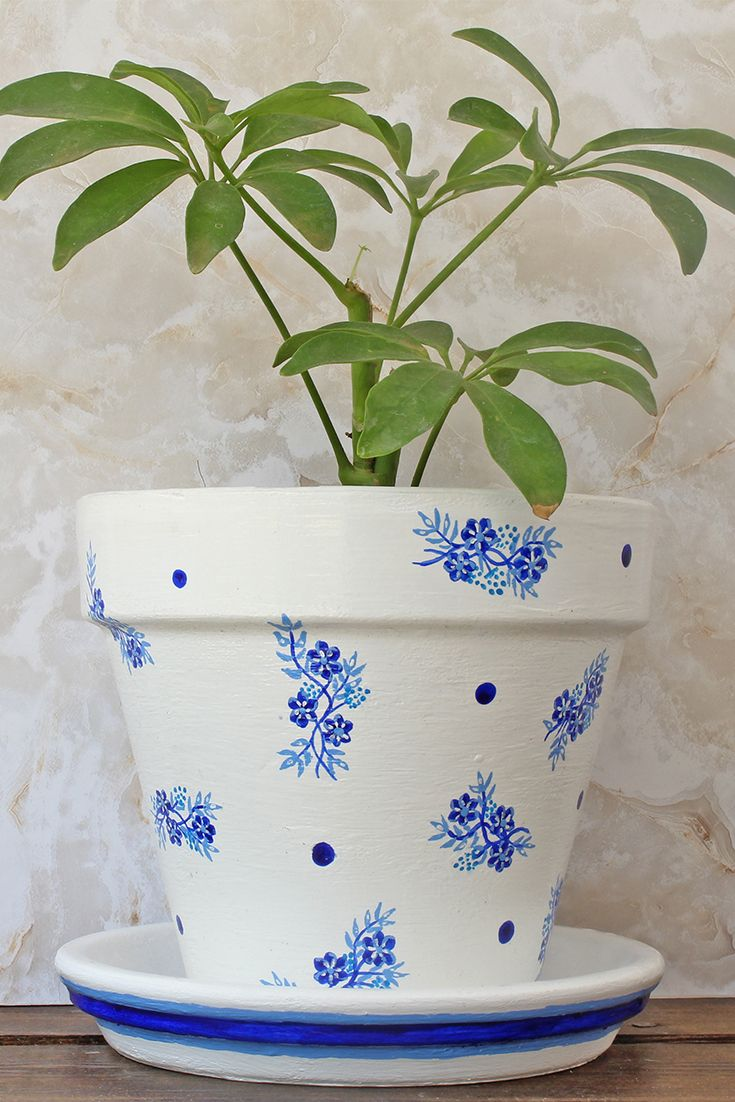 The Bluebelle Planter Painted Blue And White Plant Pot Mother Nature Collection In 2020 Painted Flower Pots Flower Pots Small Flower Pots