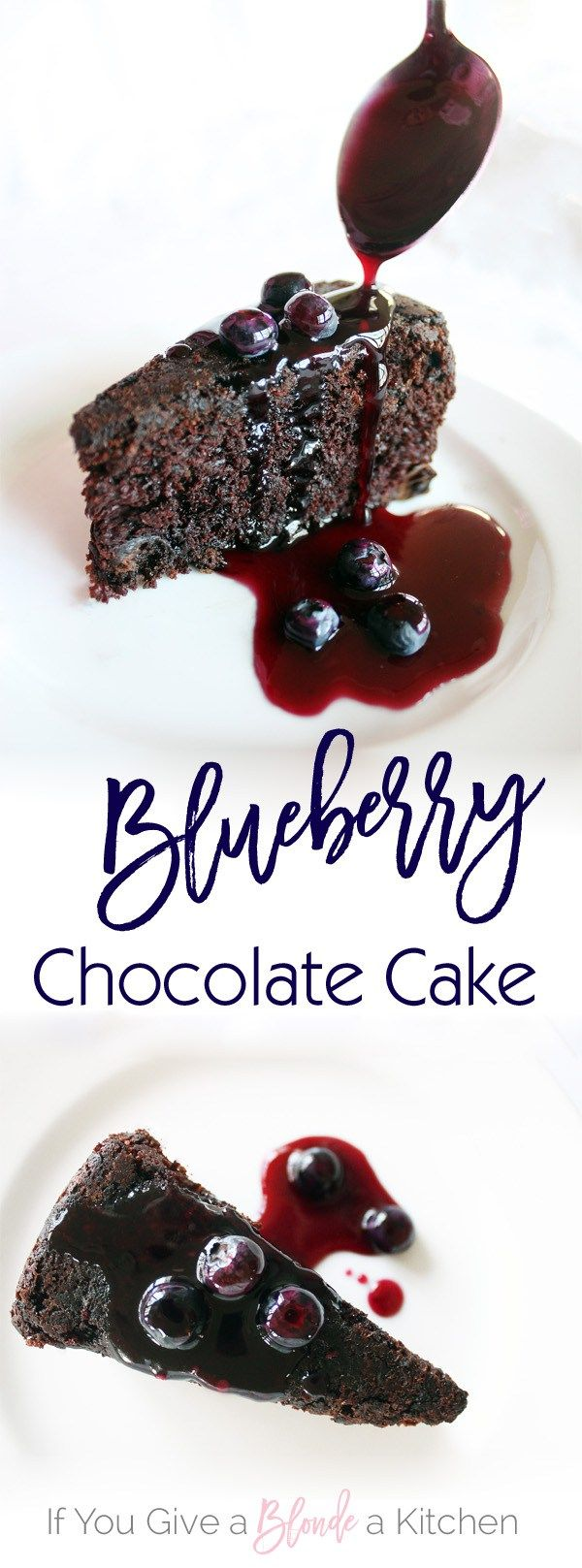 This delicious chocolate cake is sweetened with blueberries in and on the cake. The blueberry sauce is not only delicious on the cake, but on ice cream too!| Recipe by @haleydwilliams