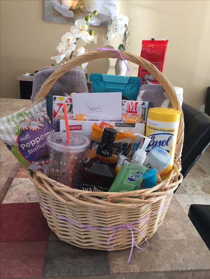 Going away to college basket college gift baskets