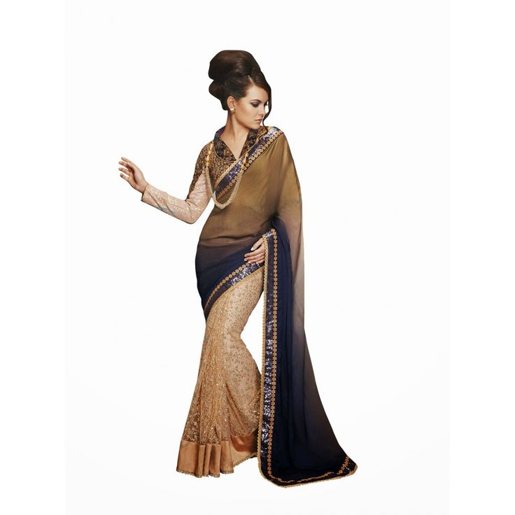 Beige and Black Dupion Silk Wedding #Saree With Blouse- $119.82