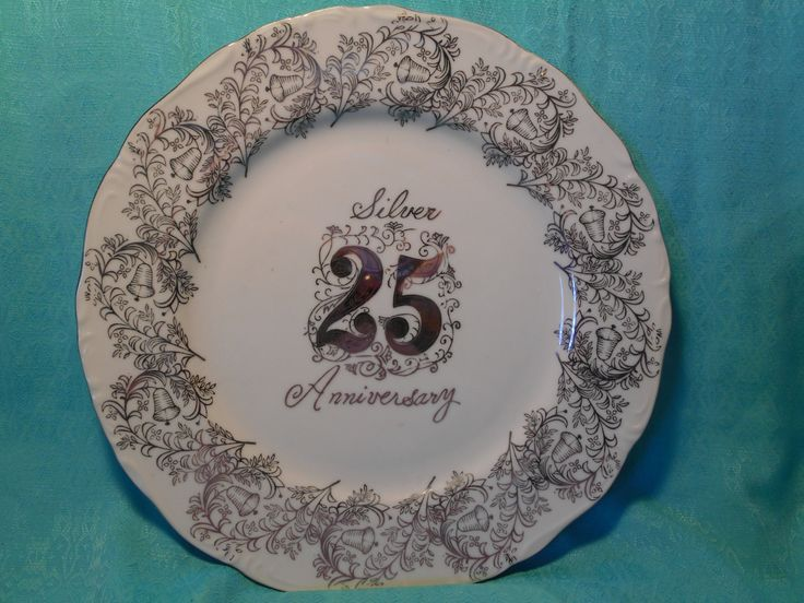 Norcrest Fine China Anniversary Plate- Vintage 25th Anniversary Gift Plate- Silver Anniversary Gift by SETXTreasures on Etsy