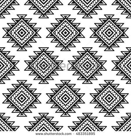 Ethnic seamless monochrome pattern. Aztec geometric background. Tribal print. Navajo fabric. Modern abstract wallpaper. Vector illustration. For paper, textile design.