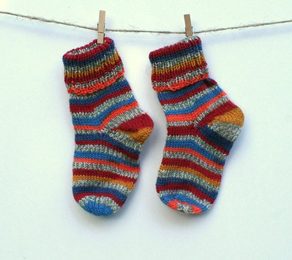 Knitted Baby Socks, hand knit wool socks by MyNewHat
