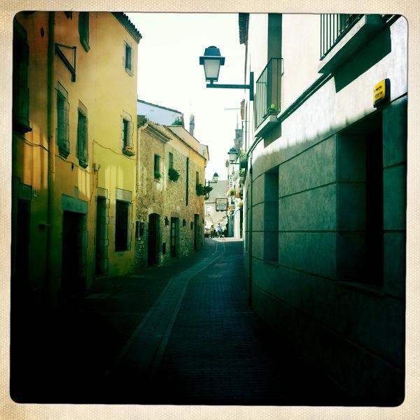 Main street in Begur, Spain