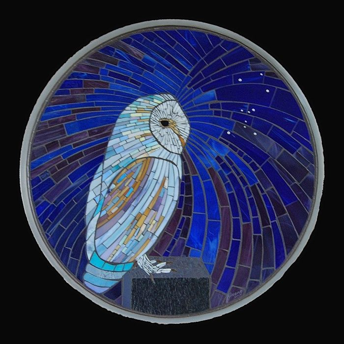 Two Hunters: Orion and the Owl - Picture 1 in 2D media: Aureleo Rosano - Semi-abstract glass mosaic on an aluminium base. 24 inches diameter...