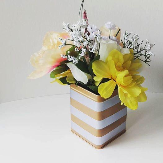 Tea Tin Planter  Decorative Vase  Gold and by GoodGollyMisterShop