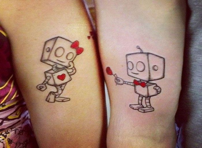 unique tattoos his and robot tattoos and