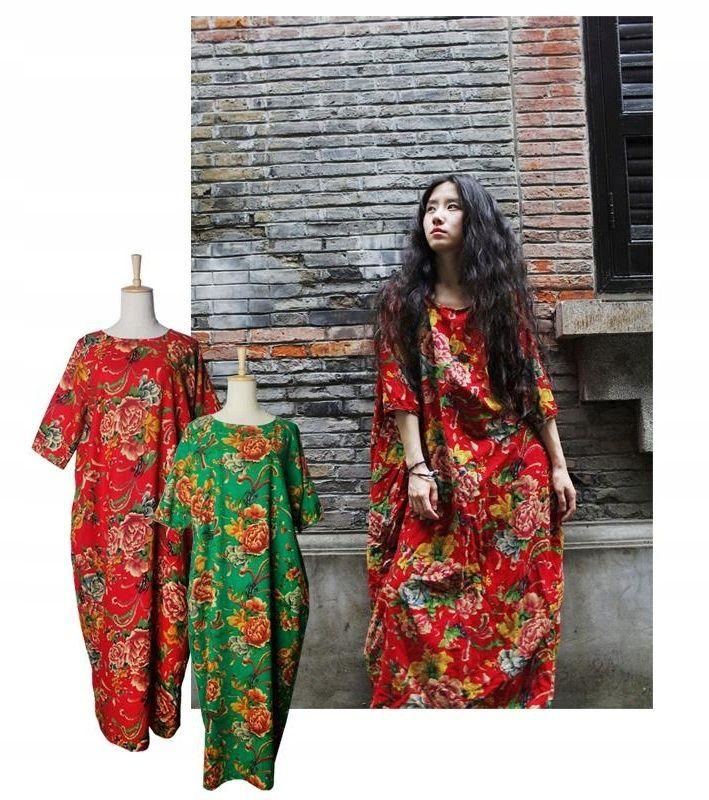 Sukienka Maxi Indyjska Orientalna Kwiaty Oversize 5755076754 Oficjalne Archiwum Allegro Fashion Women S Top Women