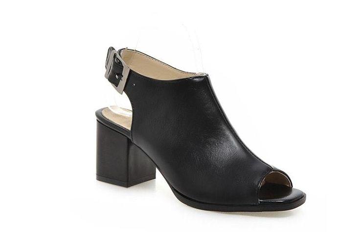 Black Peep Toe Comfort High Heel Shoes