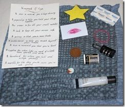 Knapsack of Hope -- includes note contents.  Might substitute the lipstick with a Hershey's kiss, and the cut out star with an origami star.  Good idea for someone needing a pick-me-up.