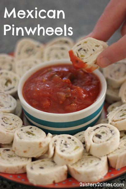 Mexican Pinwheels Dipped in Salsa-      2 blocks of reduced-fat cream cheese, at room temperature, 1- 4 oz. can of chopped green chilies, drained, 1- 4 oz. can of chopped black olives, drained, ½ onion, finely chopped, 12-14 flour tortillas, Salsa.