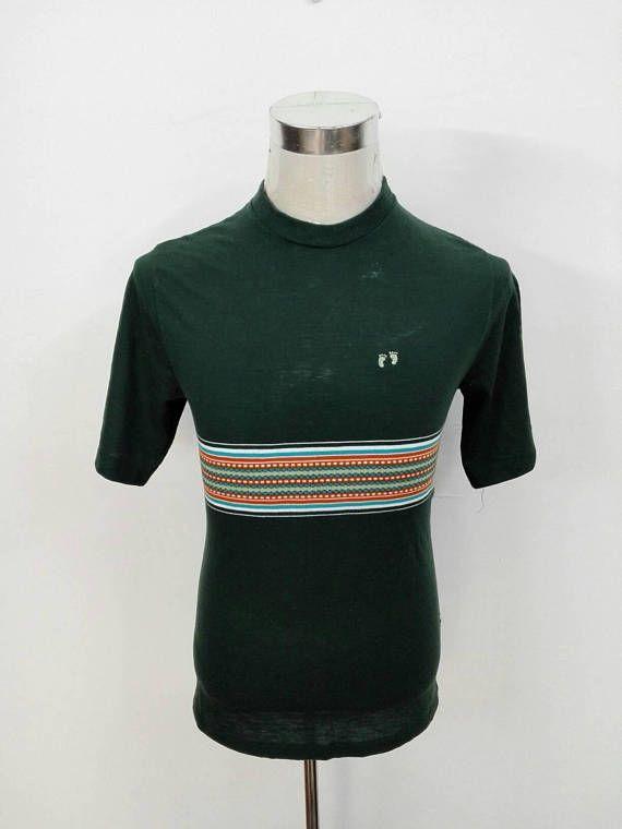 Vintage 90s Hang Ten Tshirt Stripe Colour Design Surf Size