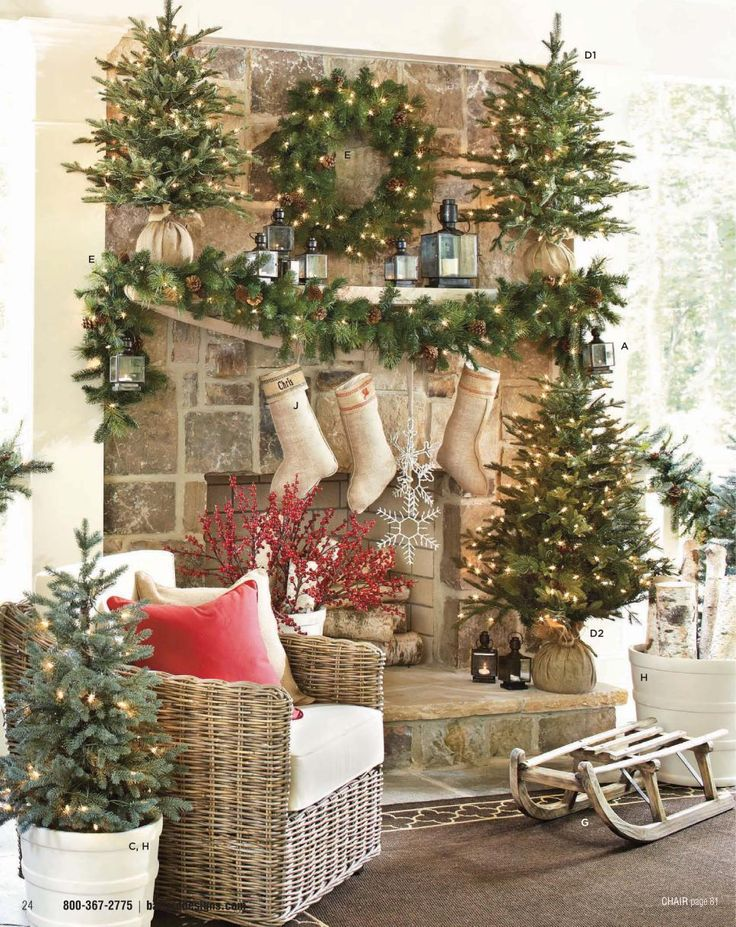 Christmas mantle. LOVE this! Trees in burlap, casual and fun...