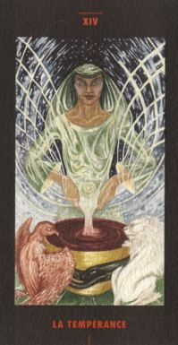 The Artwork of Modern Tarot - Limited edition decks for sale - XIV-Temperance 1994 by the artist Rossetta Woolf in collaboration with Aleph Kamal #tarot-card #art