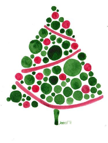 christmas tree watercolor - Weihnachtsbaum Karte Aquarell
