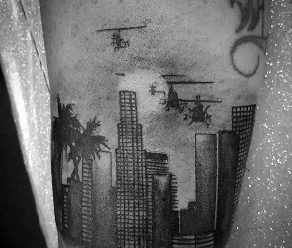 70 City Skyline Tattoo Designs For Men Downtown Ink Ideas Skyline Tattoo Tattoo Designs Men City Tattoo