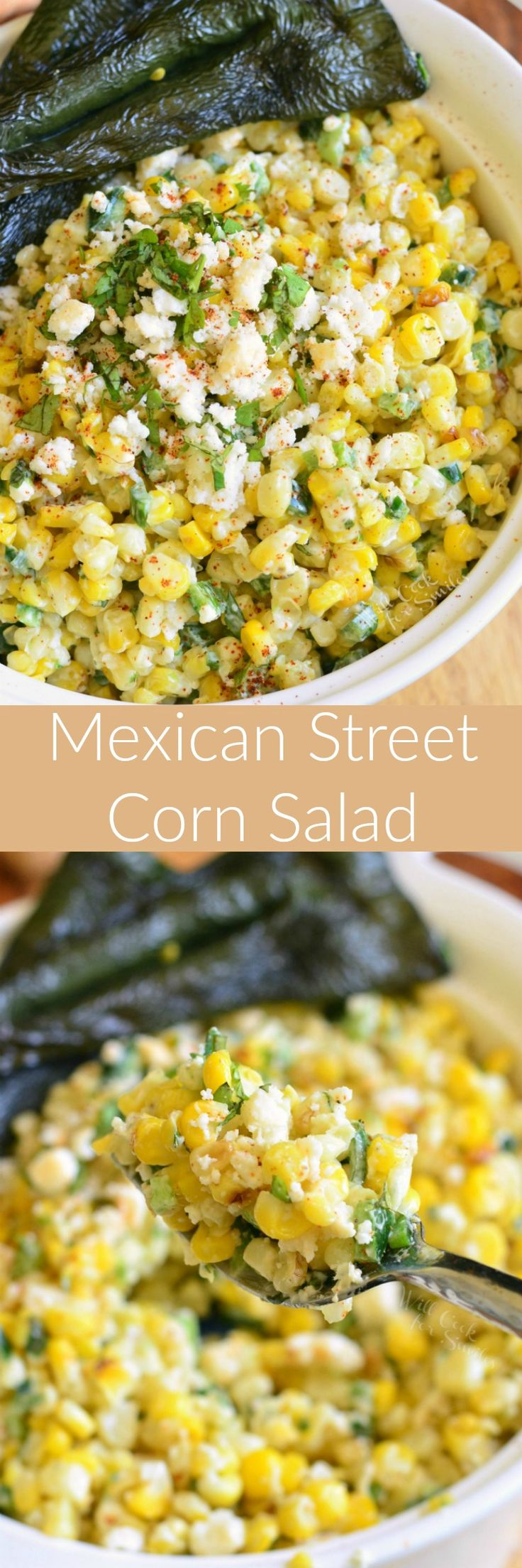 Mexican Street Corn Salad. This delicious Mexican Street Corn Salad is made with grilled corn, grilled poblano peppers, queso fresco, fresh herbs, and more.
