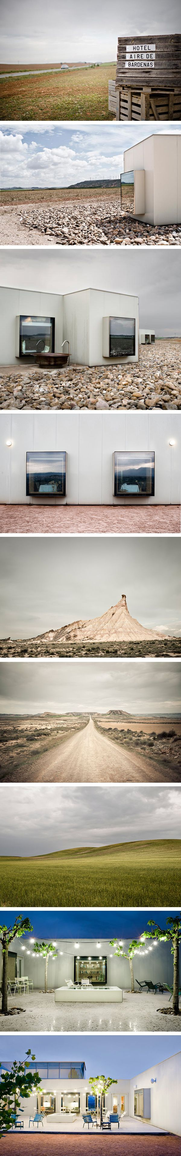 Hotel Aire de Bardenas by the young architects Emiliano López and Mónica Rivera. Fotos by Victor Lax