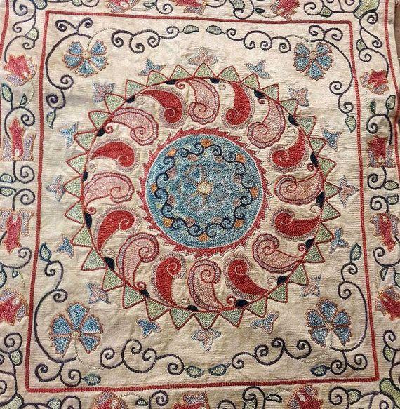 Uzbek Hand embroidered   Silk on Silk Suzani by SuzaniUzbekistan