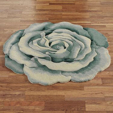Rosemarie Teal Blue Flower Shaped Rugs From A Touch Of Class $159