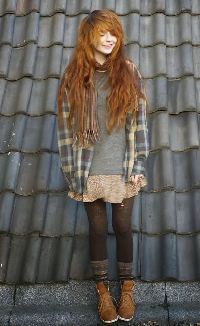 Relaxed Grunge: over sized plaid shirt, floral skirt, tights, socks, boots. And lovely red hair. Via they call me redhead