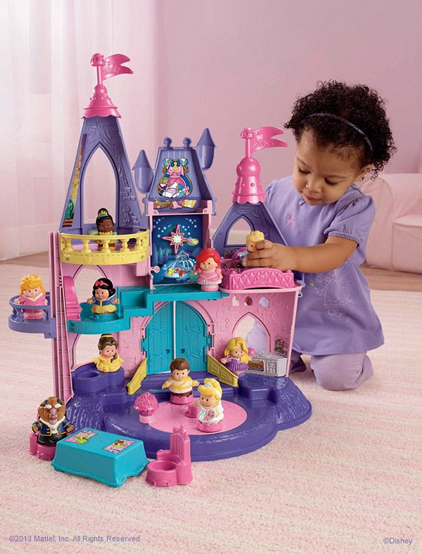 The Little People Disney Princess Songs Palace allows your princess to imagine endless stories or recreate timeless fairy tales. The palace even recognizes each princess and responds with her name, special phrases and a song! #Playtime #Toys