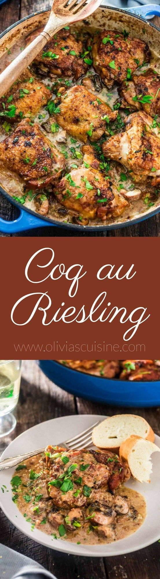 Coq au Riesling (Chicken Thighs Braised in White Wine) | http://www.oliviascuisine.com | A creamy twist on the classic Coq au Vin. Chicken thighs, bacon and mushrooms are braised in an off-dry Riesling and heavy cream is added at the end to make it even more delicious! Oh, and it's all made in one pot! (In partnership with /theseekerwines/)