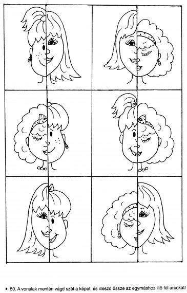 Werkblaadje juiste gezichtshelften bij elkaar brengen: