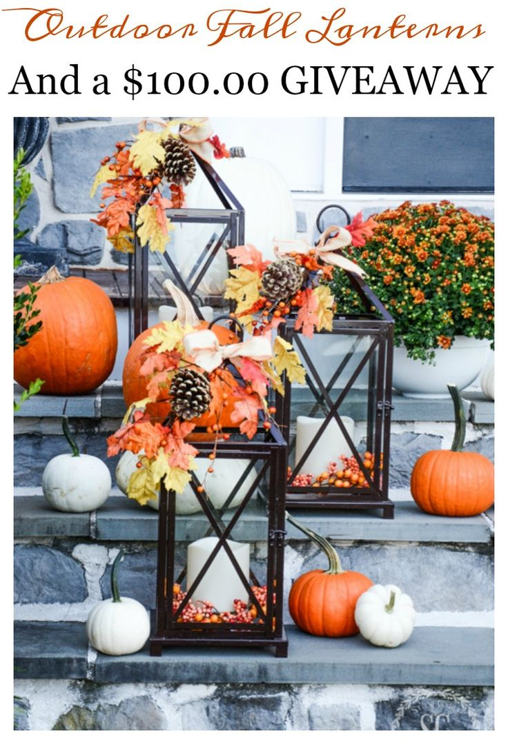 Thanksgiving outdoor decor - Fall Outdoor Decorating With Lanterns Here S An Easy Way To Light Up Your Fall Decorating
