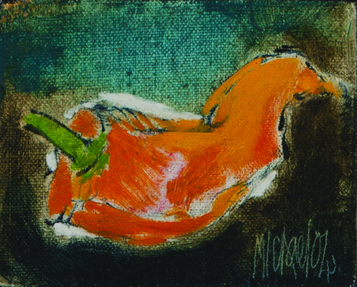 Michael Ferreira Heyns (South African 1946 - ) CHILI signed and dated 04; oil on canvass laid down on board; 8 by 10 cm