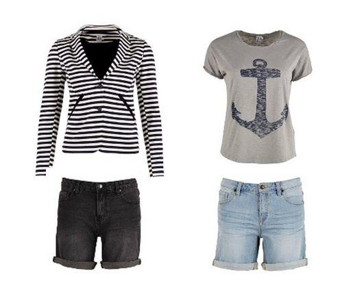 Tomboy shorts in zwart en blauw verkrijgbaar. Leuk te combineren met een printed t-shirt en gevoerde gestreepte blazer. Hele look is te verkrijgen bij Vive Tilburg.