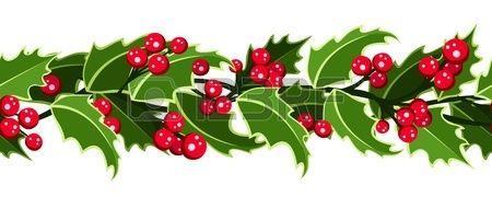 Horizontale nahtlose Hintergrund mit Weihnachten Stechpalme  Lizenzfreie Bilder
