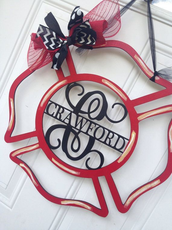 Firefighter Door Hanger, Maltese Cross Door Hanger, Fireman Door Hanger, Door…
