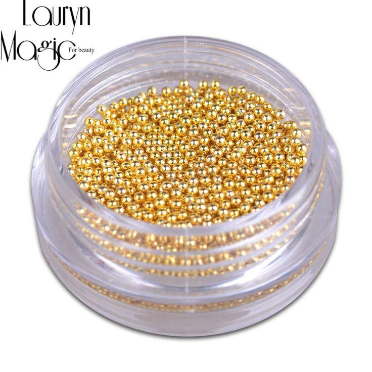 Gold Silver Mini Caviar Beads Gel Polish Nail Art Tips Charm Metallic Pearl Ball Pro Manicure Pedicure DIY 3D Decoration