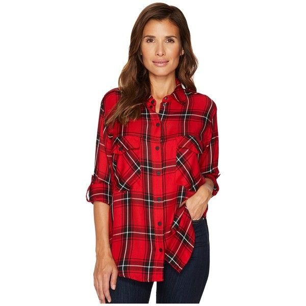 Sanctuary Boyfriend Shirt (Red Plaid) Women's Long Sleeve Button Up (315 RON) ❤ liked on Polyvore featuring tops, long sleeve collar shirt, long sleeve button up shirts, plaid shirts, long sleeve button down shirts and long sleeve plaid shirt