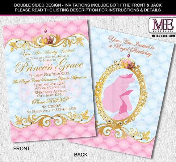 Sleeping Beauty, Princess Aurora Birthday Invitations - Your choice of digital invitation file(s) or Printed invitations.  Created By Metro-Event.com