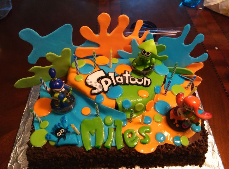 Splatoon Cake Miles 13th Bday 8 2015 Chocolate Fudge