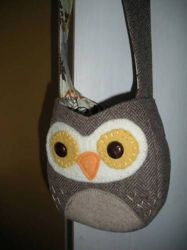 Owl purse - upcycle old coat