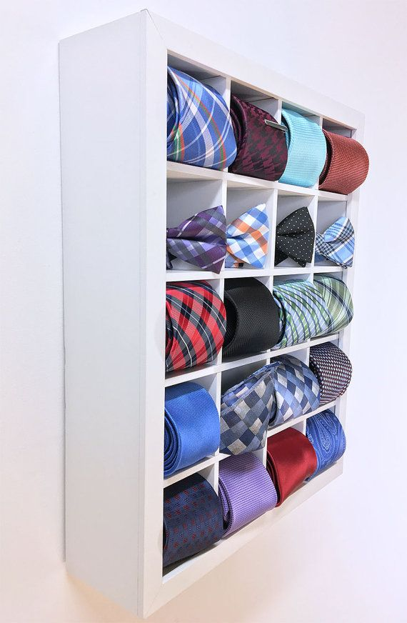 This Tie Display Case neatly organizes up to 20 Ties, Bow Ties, Pocket Squares, Watches and more! Bring the store display case home with you... customize your own tie display at tiesandcloset.etsy.com or www.tiesandcloset.com