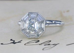 Custom made halo ring featuring Asscher cut diamond by Leon Mege