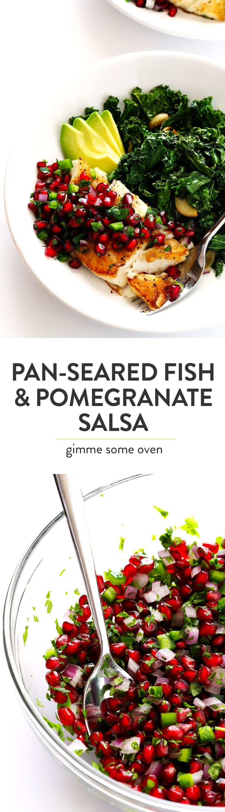 This 20-Minute Pan-Seared Fish is topped with a sweet pomegranate salsa, and serve up with fresh avocado and garlicky kale.  It's an quick and easy dinner recipe that you can make with your favorite fish (halibut, cod, salmon, tilapia, etc.) that's also naturally gluten-free, and SO delicious! | Gimme Some Oven