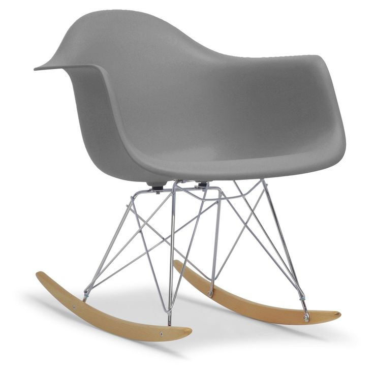 Baxton Studio Dario Plastic Mid-Century Modern Shell Rocking Chair - DC-311W-GREY