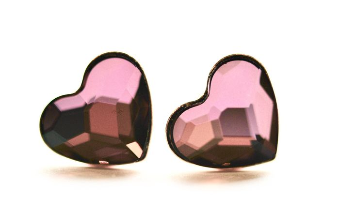 Heart stud earrings, Rose gold heart earrings, Swarovski crystal earrings,Purple Pink Heart earrings, silver heart earrings, Heart studs by justynasshop on Etsy https://www.etsy.com/uk/listing/592795423/heart-stud-earrings-rose-gold-heart