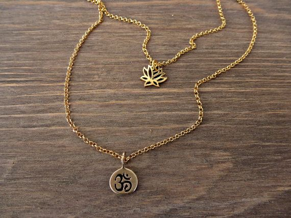 YOGA, Gold, double chain, dainty necklace, Om necklace, Layered Lotus Flower necklace, Minimalist double yoga necklace.